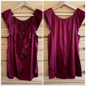 Theory Red Silk Button Ruffle Tank Blouse S